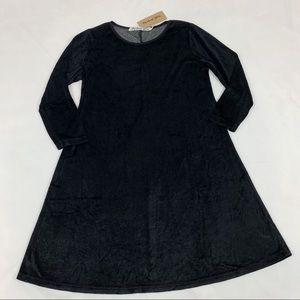Michael Stars black crew neck velvet swing dress